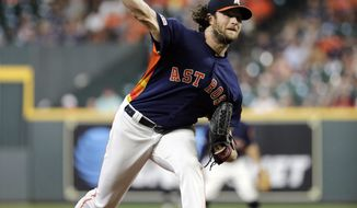 Houston Astros' Gerrit Cole throws against the Seattle Mariners during the first inning of a baseball game Sunday, Sept. 8, 2019, in Houston. (AP Photo/David J. Phillip)