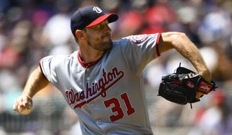 Washington Nationals' Max Scherzer pitches during the first inning of a baseball game against the Atlanta Braves, Sunday, Sept. 8, 2019, in Atlanta. (AP Photo/John Amis)