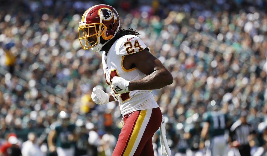 Washington Redskins' Josh Norman reacts after a stop during the first half of an NFL football game against the Philadelphia Eagles, Sunday, Sept. 8, 2019, in Philadelphia. (AP Photo/Matt Rourke) ** FILE **