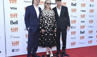 "Gary Oldman, from left, Meryl Streep and Antonio Banderas attend a premiere for ""The Laundromat"" on day five of the Toronto International Film Festival at Princess of Wales Theatre on Monday, Sept. 9, 2019, in Toronto. (Photo by Chris Pizzello/Invision/AP)"