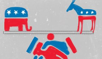 Illustration on amity between left and right as a foundation for progress by Linas Garsys/The Washington Times