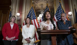 From left, Dayton, Ohio Mayor Nan Whaley whose city suffered a mass shooting Aug. 4, 2019, Speaker of the House Nancy Pelosi, D-Calif., Rep. Veronica Escobar, D-Texas, whose district contains El Paso, Texas, where a gunman killed 22 people at an El Paso, Texas, Walmart, and Senate Minority Leader Chuck Schumer, D-N.Y., call for a Senate vote on the House-passed Bipartisan Background Checks Act as Congress returns for the fall session with pressure mounting on Senate Majority Leader Mitch McConnell to address gun violence, at the Capitol in Washington, Monday, Sept. 9, 2019. (AP Photo/J. Scott Applewhite)