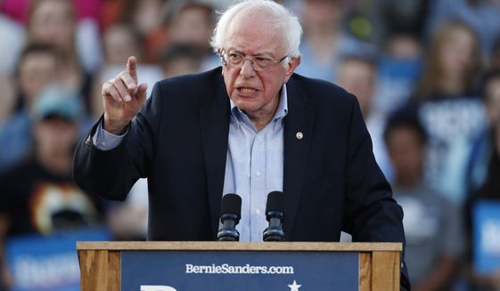 Democratic presidential candidate Sen. Bernie Sanders, I-Vt., speaks during a rally at a campaign stop Monday, Sept. 9, 2019, in Denver. (AP Photo/David Zalubowski)