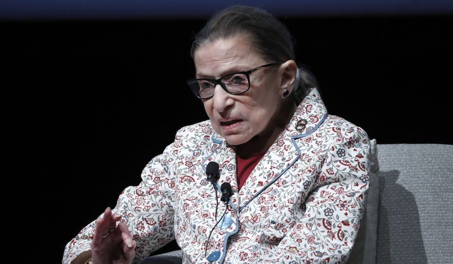 Supreme Court Justice Ruth Bader Ginsburg responds to a question during her visit to the University of Chicago for a conversation with Harris School of Public Policy dean, Katherine Baicker Monday, Sept. 9, 2019, in Chicago. (AP Photo/Charles Rex Arbogast)