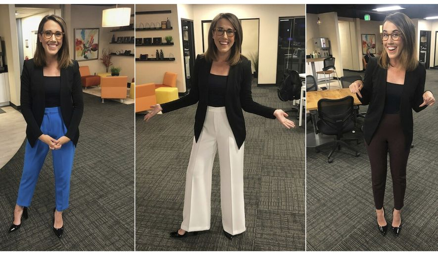 This combination of photos provided by Maggie Vespa shows Vespa, a weekend news anchor and TV reporter at NBC affiliate KGW-TV in Portland, Oregon, wearing a variety of high-waisted pants she wore for five separate news casts over the weekend. Vespa wore the pants after a male viewer told her to dress like a normal woman in a message sent to her Facebook work account. She wanted to draw attention to the pressure that women who work in the public eye face on a daily basis. (Maggie Vespa via AP)