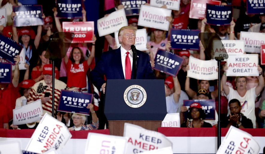 President Donald Trump speaks at a campaign rally in Fayetteville, N.C., Monday, Sept. 9, 2019. (AP Photo/Chris Seward)