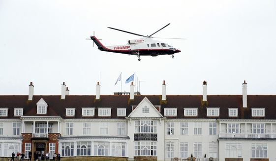 In this Aug. 1, 2015, file photo, then-presidential candidate Donald Trump leaves by his helicopter on the third day of the Women's British Open golf championship at the Turnberry golf course in Turnberry, Scotland. The Air Force is reviewing how crews on international travel choose airports and hotels after one crew recently spent a night at a Trump resort in Scotland. An Air Force spokesman said Monday, Sept. 9, that an initial review of the March stopover in Scotland in which the crew stayed at the Trump Turnberry golf resort adhered to all official guidance and procedures. Brig. Gen. Ed Thomas adds, however, that while lodging at higher-end hotels might be allowable, it might not always be advisable. (AP Photo/Scott Heppell, File)