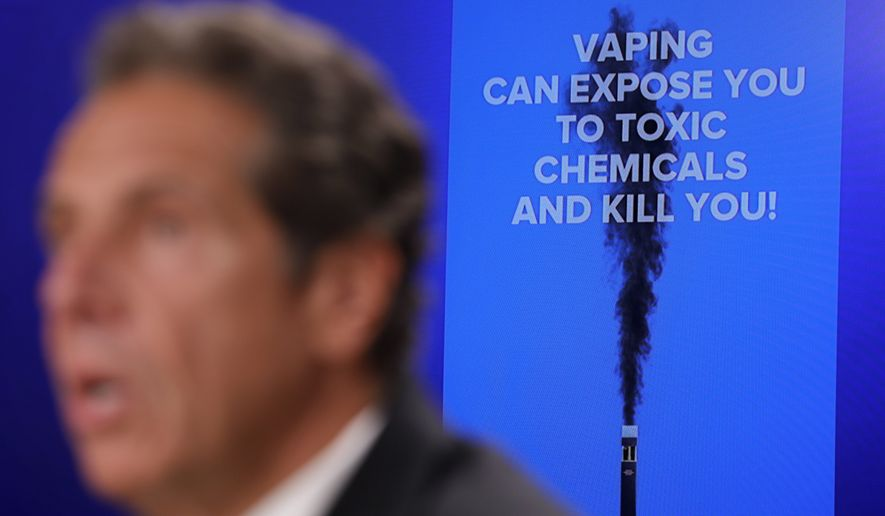 New York Governor Andrew Cuomo speaks at a news conference about vaping and health concerns in New York, Monday, Sept. 9, 2019. (AP Photo/Seth Wenig)