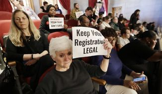 FILE - In this April 15, 2019, file photo, Suzanne Lanier, front left, holds up a sign in the House gallery as she and others oppose a bill pushed by the Tennessee Secretary of State that would impose new restrictions on groups that hold voter registration drives in Nashville, Tenn. A federal judge on Monday, Sept. 9, 2019, sternly criticized Tennessee's new restrictions for signing up voters and refused to dismiss a legal challenge against the new law set to take effect in October. (AP Photo/Mark Humphrey, File)