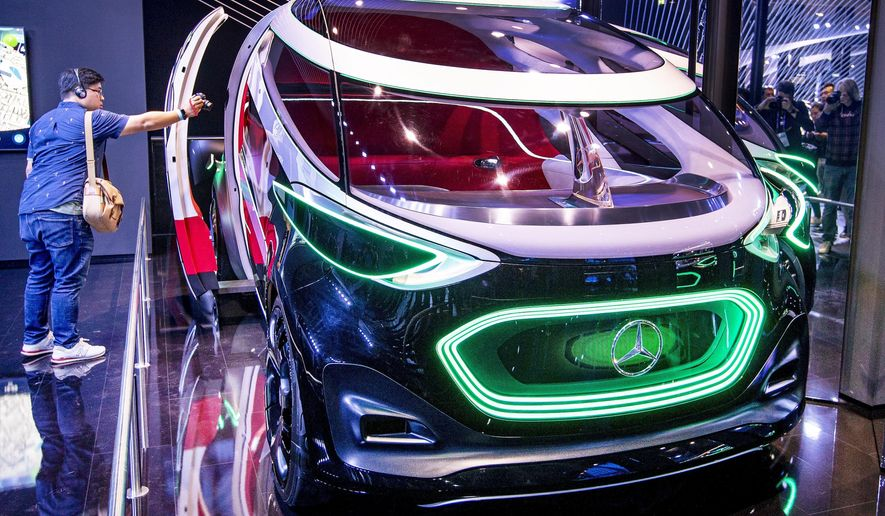 "The Mercedes concept car ""Vision Urbanatic"" is photographed at the IAA Auto Show in Frankfurt, Germany, Monday, Sept. 9, 2019. The IAA starts with two media days on Tuesday and Wednesday. (AP Photo/Michael Probst)"