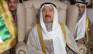 FILE - In this March 31, 2019 file photo, Kuwait's ruling emir, Sheikh Sabah Al Ahmad Al Sabah, attends the opening of the 30th Arab Summit, in Tunis, Tunisia. Kuwait said Sunday, Sept. 8, 2019, that its 90-year-old ruling emir Sheikh Sabah has been admitted to a U.S. hospital after an earlier health scare and will cancel an upcoming visit Thursday with President Donald Trump. (Fethi Belaid/Pool Photo via AP, File)