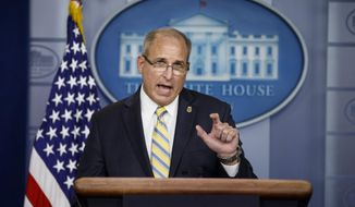 Acting Commissioner of Customs and Border Protection Mark Morgan speaks at the White House in Washington, Monday, Sept. 9, 2019. (AP Photo/Carolyn Kaster)