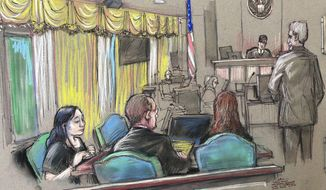 FILE - In this April 15, 2019, file court sketch, Yujing Zhang, left, a Chinese woman charged with lying to illegally enter President Donald Trump's Mar-a-Lago club, listens to a hearing before Magistrate Judge William Matthewman in West Palm Beach, Fla. Zhang, 33, who is accused of trespassing at Trump's Mar-a-Lago club and lying to Secret Service agents will be tried by a jury after frustrating the federal judge hearing her case.  (Daniel Pontet via AP, File)
