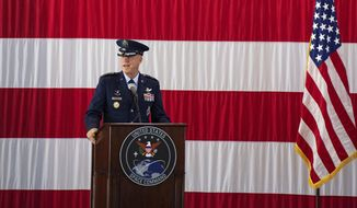 Gen. John W. Raymond, the commander of the U.S. Space Command, speaks Monday, Sept. 9, 2019, during a ceremony to recognize the establishment of the United States Space Command at Peterson Air Force Base in Colorado Springs, Colo. (Christian Murdock)/The Gazette via AP) **FILE**