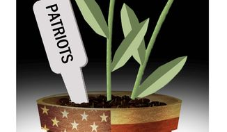 Illustration on declining core values by Alexander Hunter/The Washington Times