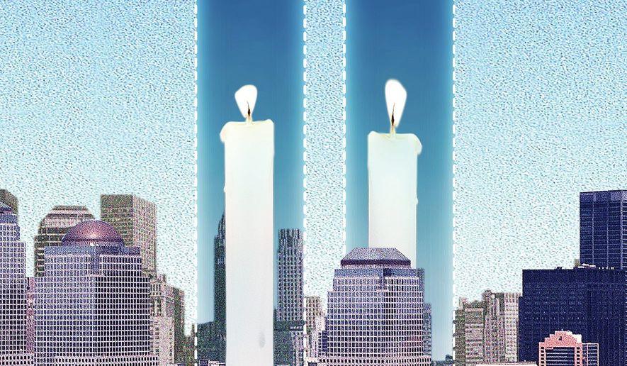 Illustration commemorating 9/11 by Linas Garsys/The Washington Times