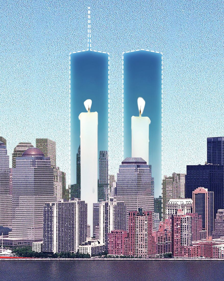Illustration commemorating 9/11 by Linas Garsys/The Washington Times