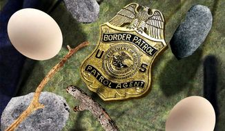 Illustration on unfounded attacks on U.S. Border Patrol Agents by Alexander Hunter/The Washington Times
