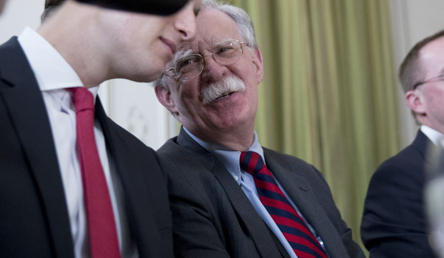National Security Adviser John Bolton, pictured, attends a meeting with President Donald Trump and Britain's Prime Minister Boris Johnson at the Hotel du Palais on the sidelines of the G-7 summit in Biarritz, France, Sunday, Aug. 25, 2019. (AP Photo/Andrew Harnik)