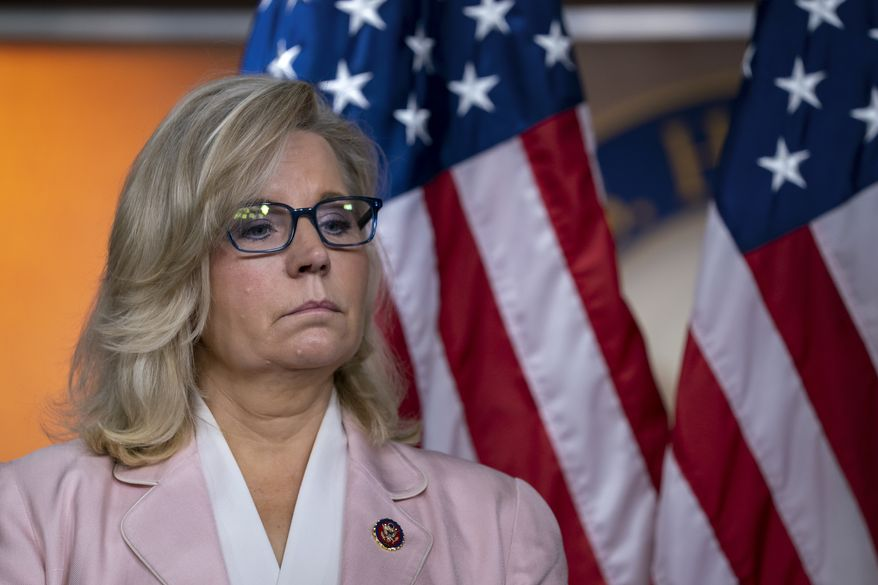 House Republican Conference chair Rep. Liz Cheney, R-Wyo., pauses as she and the GOP leadership speak to reporters following a meeting at the Capitol in Washington, Tuesday, Sept. 10, 2019. (AP Photo/J. Scott Applewhite) ** FILE **