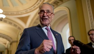 Senate Minority Leader Sen. Chuck Schumer of N.Y., speaks at a news conference following a Senate policy luncheon on Capitol Hill, Tuesday, Sept. 10, 2019, in Washington. (AP Photo/Andrew Harnik) ** FILE **