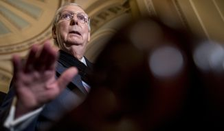 Senate Majority Leader Mitch McConnell of Ky., speaks at a news conference following a Senate policy luncheon on Capitol Hill, Tuesday, Sept. 10, 2019, in Washington. (AP Photo/Andrew Harnik)