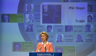 Incoming European Commission President Ursula von der Leyen announces Ireland's Phil Hogan as candidate for EU Trade Commissioner during a media conference at EU headquarters in Brussels, Tuesday, Sept. 10, 2019. Incoming European Commission President Ursula von der Leyen on Tuesday unveiled her team of candidates for the EU commission. (AP Photo/Virginia Mayo)