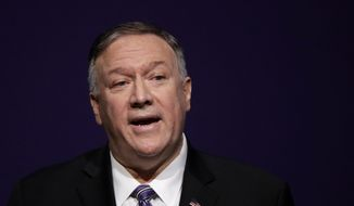 Secretary of State Mike Pompeo gives a speech at the London Lecture series at Kansas State University Friday, Sept. 6, 2019, in Manhattan, Kan. (AP Photo/Charlie Riedel)