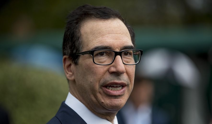 In this Spet. 9, 2019, photo, Treasury Secretary Steve Mnuchin speaks to reporters outside the West Wing of the White House in Washington. (AP Photo/Andrew Harnik)
