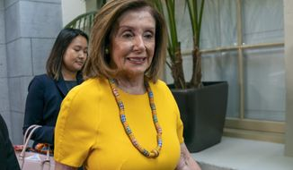 In this file photo, Speaker of the House Nancy Pelosi, D-Calif., arrives for a gathering of the House Democratic Caucus at the Capitol in Washington, Tuesday, Sept. 10, 2019. On Sept. 19, Mrs. Pelosi unveiled House Democrats' plans to reform prescription drug pricing. (AP Photo/J. Scott Applewhite)