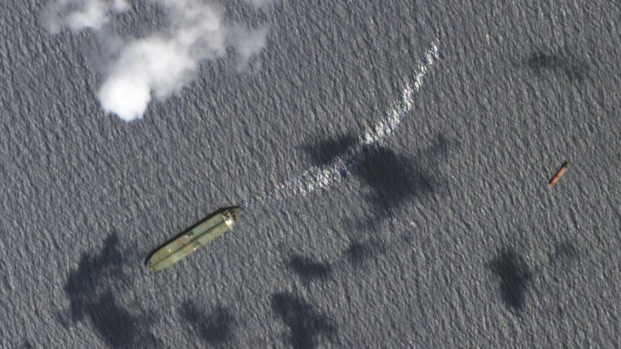 This Sunday, Sept. 8, 2019, satellite image from Planet Labs Inc. appears to show the Iranian oil tanker Adrian Darya-1 off the coast of Tartus, Syria. New satellite photos obtained Tuesday, Sept. 10, 2019, by The Associated Press appears to show the Iranian oil tanker still off Syria despite U.S. efforts to seize the vessel. That's after Gibraltar earlier seized and held the tanker for weeks, later releasing it after authorities there said Iran promised the oil wouldn't go to Syria. (Planet Labs Inc via AP)