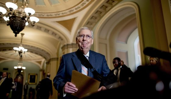 Senate Majority Leader Mitch McConnell of Ky., arrives for a news conference following a Senate policy luncheon on Capitol Hill, Tuesday, Sept. 10, 2019, in Washington. (AP Photo/Andrew Harnik)