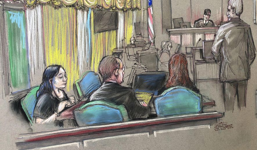In this April 15, 2019, file court sketch, Yujing Zhang, left, a Chinese woman charged with lying to illegally enter President Donald Trump's Mar-a-Lago club, listens to a hearing before Magistrate Judge William Matthewman in West Palm Beach, Fla. (Daniel Pontet via AP, File)