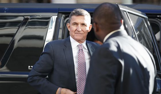 In this Dec. 18, 2018, file photo, President Donald Trump's former national security adviser, Michael Flynn, arrives at federal court in Washington. Flynn is due back in court for the first time in weeks as his lawyers mount an aggressive attack on the special counsel's Russia investigation. (AP Photo/Carolyn Kaster, File)