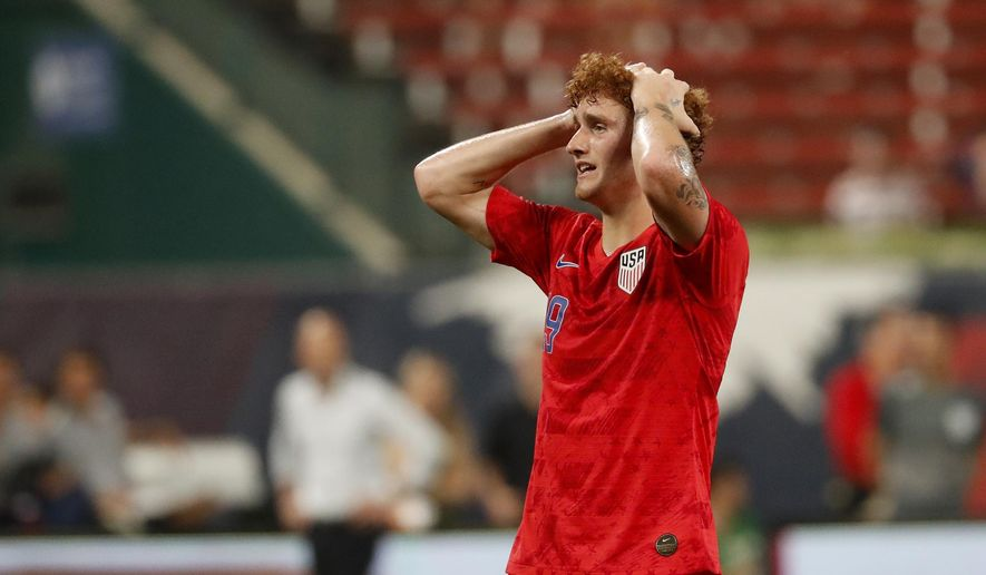 United States' Josh Sargent reacts to a missed shot during the second half of a friendly soccer match against Uruguay Tuesday, Sept. 10, 2019, in St. Louis. The game ended in a 1-1 tie. (AP Photo/Jeff Roberson)
