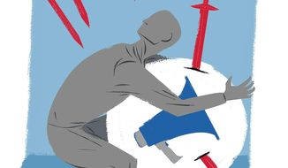 Attack on Free Speech Illustration by Linas Garsys/The Washington Times