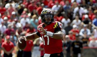 Maryland Terrapins quarterback Josh Jackson (17) passes the football during the first half of an NCAA college football game against the Syracuse Orange, Saturday, Sept. 7, 2019, in College Park, Md. (AP Photo/Will Newton)