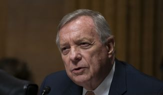 Sen. Dick Durbin, D-Ill., questions White House lawyer Steven Menashi, President Donald Trump's nominee for U.S. Court of Appeals for the 2nd Circuit, during his confirmation hearing before the Senate Judiciary Committee, on Capitol Hill in Washington, Wednesday, Sept. 11, 2019. Menashi's guarded responses were frustrating at times to both Democrats and Republicans on the Judiciary panel. (AP Photo/J. Scott Applewhite) ** FILE **