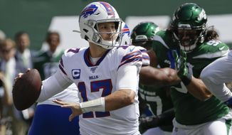 Buffalo Bills quarterback Josh Allen (17) throws a pass during the first half of an NFL football game against the New York Jets Sunday, Sept. 8, 2019, in East Rutherford, N.J. (AP Photo/Seth Wenig)