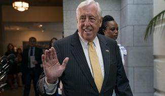 House Majority Leader Steny Hoyer, D-Md., arrives for a gathering of the House Democratic Caucus at the Capitol in Washington, Tuesday, Sept. 10, 2019. (AP Photo/J. Scott Applewhite) ** FILE **