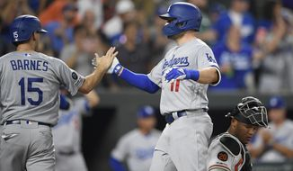 Los Angeles Dodgers' A.J. Pollock celebrates his two-run with Austin Barnes (15) during the sixth inning of a baseball game as Baltimore Orioles catcher Pedro Severino kneels at right, Wednesday, Sept. 11, 2019, in Baltimore. (AP Photo/Nick Wass)