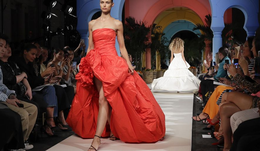 Fashion from the Oscar de la Renta collection is modeled Tuesday, Sept. 10, 2019, during Fashion Week in New York. (AP Photo/Frank Franklin II)