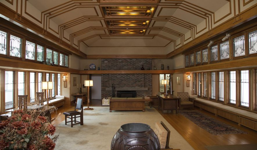 This photo provided by The Metropolitan Museum of Art shows the Frank Lloyd Wright Room located in The American Wing at the museum in New York. The room was originally the living room of the summer residence of Frances W. Little, designed and built between 1912 and 1914 in Wayzata, Minn., a suburb of Minneapolis. (Metropolitan Museum of Art via AP)