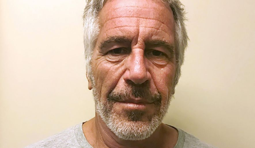 FILE - This March 28, 2017, file photo, provided by the New York State Sex Offender Registry shows Jeffrey Epstein. A previously undisclosed federal investigation into Epstein included an examination of whether he was traveling with underage girls as recently as 2018, newly released documents show. In July 2019, U.S. Marshals Service investigators spoke with an air-traffic controller who said she saw Epstein get off his private jet at an airport near his U.S. Virgin Islands retreat with two girls who appeared to be 11 or 12, according to the documents. (New York State Sex Offender Registry via AP, File)