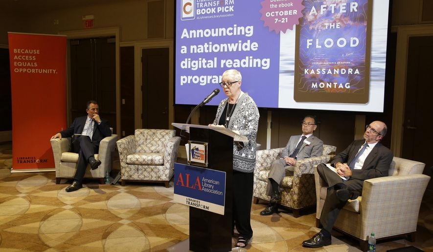 Library Association Executive Director Mary Ghikas speaks at the Nashville Public Library Wednesday, Sept. 11, 2019, in Nashville, Tenn. The American Library Association is asking the public to help pressure Macmillan Publishers to rethink a planned embargo on e-books purchases by public libraries. (AP Photo/Mark Humphrey)