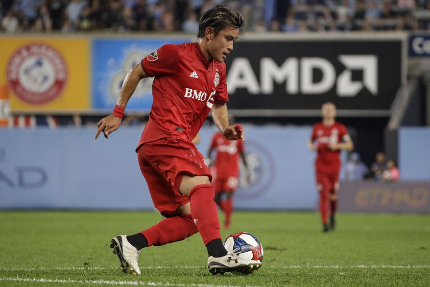 Toronto FC's Tsubasa Endoh (31) looks to pass during the second half of an MLS soccer match against New York City FC Wednesday, Sept. 11, 2019, in New York. The game ended in a 1-1 draw. (AP Photo/Frank Franklin II)