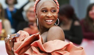 "Actress Cynthia Erivo arrives on the red carpet for the gala premiere of the film ""Harriet "" at the 2019 Toronto International Film Festival in Toronto on Tuesday, Sept. 10, 2019. (Nathan Denette/The Canadian Press via AP)"