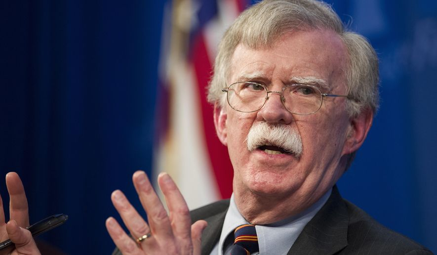 In this Dec. 13, 2018, file photo, national security adviser John Bolton unveils the Trump administration's Africa Strategy at the Heritage Foundation in Washington. (AP Photo/Cliff Owen, File)