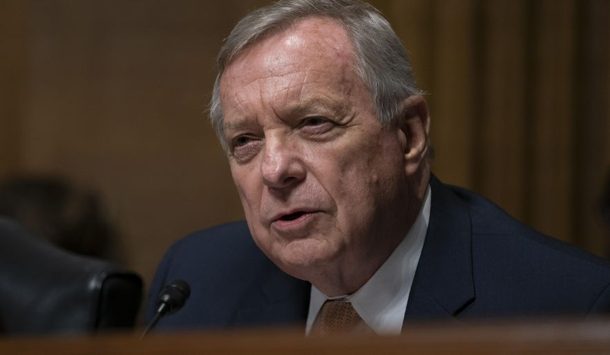 In this file photo, Sen. Dick Durbin, D-Ill., questions White House lawyer Steven Menashi, President Donald Trump's nominee for U.S. Court of Appeals for the 2nd Circuit, during his confirmation hearing before the Senate Judiciary Committee, on Capitol Hill in Washington, Wednesday, Sept. 11, 2019.  (AP Photo/J. Scott Applewhite) **FILE**