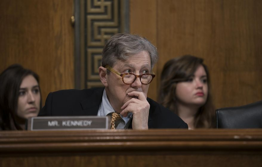 Sen. John Kennedy, R-La., listens to testimony from White House lawyer Steven Menashi, President Donald Trump's nominee for U.S. Court of Appeals for the 2nd Circuit, during his confirmation hearing before the Senate Judiciary Committee, on Capitol Hill in Washington, Wednesday, Sept. 11, 2019. (AP Photo/J. Scott Applewhite) ** FILE **